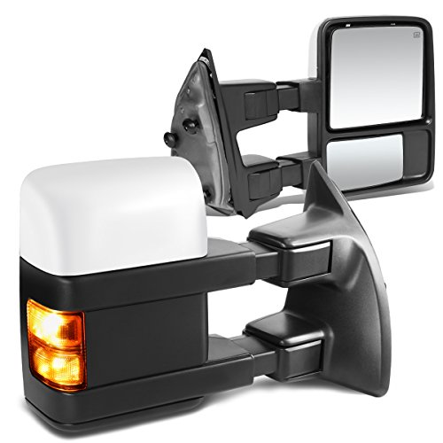 For Ford F250-550 Super Duty Pair Chrome Powered Tow Mirrors Amber LED Turn Signal Lights