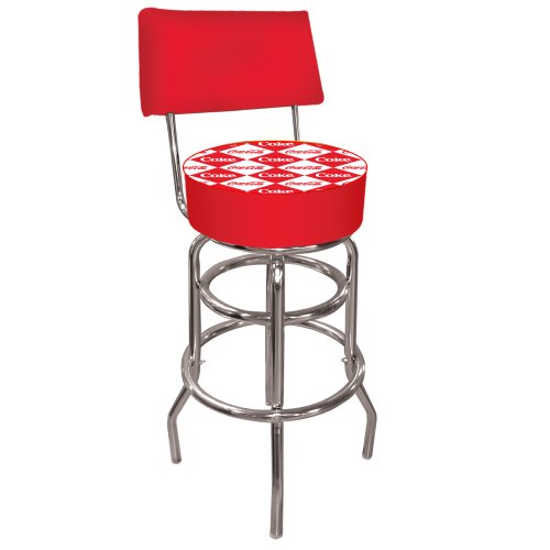 Cheap Coca-Cola Checker Padded Swivel Bar Stool with Back