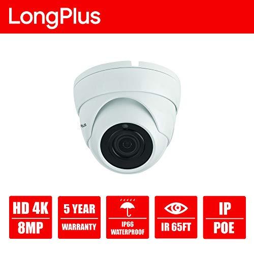 LongPlus 4K 8MP CCTV Security Surveillance H.265 Poe, Sony Sensor, 3864x2218, Ip66 Weatherproof, White (LPIPC8MDM)