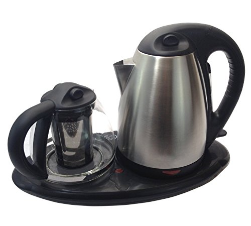 Tea Maker Set - Dual Electric Kettles Stainless Steel & Glass with Keep Tea Warm Tray (Electric Tea Kettle With Tray)