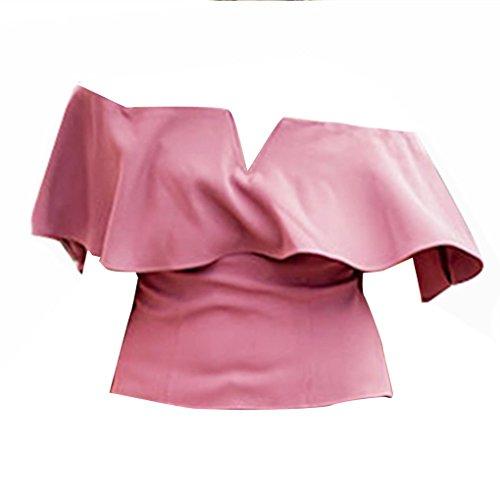QHGstore Color sólido de las mujeres fuera del hombro de verano Tops Ruffled camisa manga corta de manga rosa