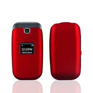 LF 3 in 1 Bundle - Hard Case Cover, Lf Stylus Pen & Droid Wiper Accessory For (T-Mobil, MetroPCS) LG 450 (MS450) (Red)