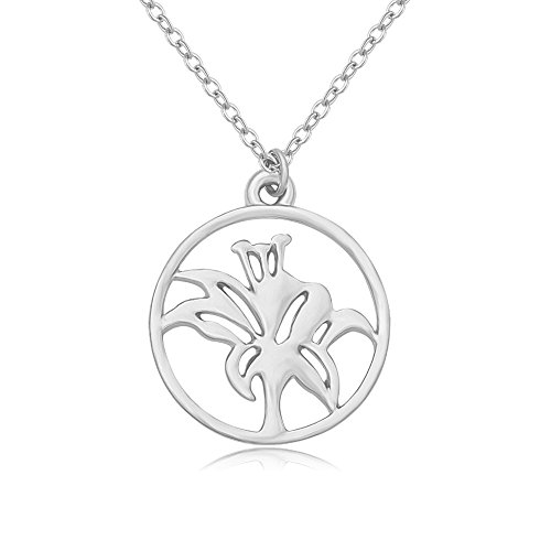 Iris Circle - BEICHUANG Exquisite Round Circle Iris Flower Pendant Necklace Love and Friendship Necklace (silver)