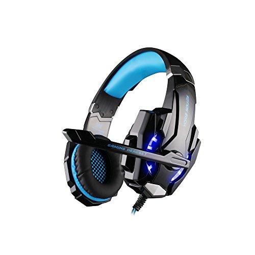 KOTION EACH G9000 USB 7.1 Surround Sound Versions Gaming Headset Spiel Kopfhörer mit Mikrofon LED Licht für PC (Schwarz + Blau)