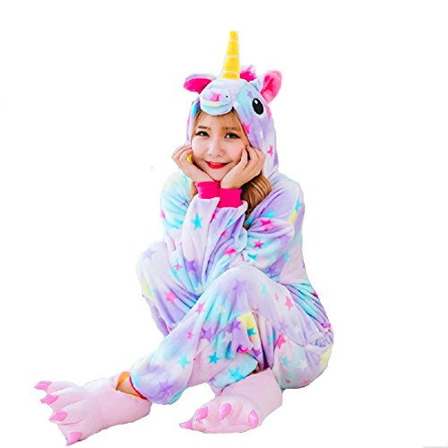 YaphteS Cosplay Unicorn Pajamas Gift for Girl and Women Cute Winter Animal Onesie Sleepwear (Star-XL)