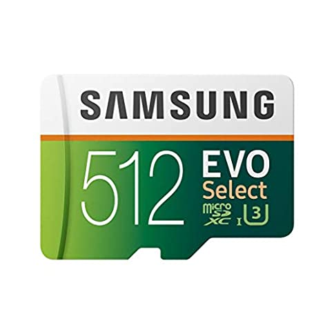 samsung 512gb 100mb/s (u3) microsd evo select memory card with adapter (mb-me512ga/am) - 41yYVOfM7rL - Samsung 512GB 100MB/s (U3) MicroSD Evo Select Memory Card with Adapter (MB-ME512GA/AM)