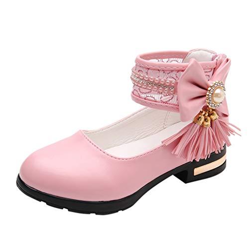 Little Girls Party Dress Sandals Kids Girl Round Toe Tassel Bridal Heels Dance Princess Pumps Shoes (Pink, ()