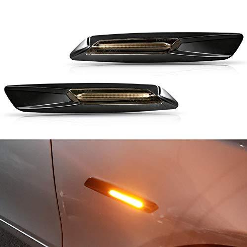 (GemPro 2-Pack Amber LED Side Marker Turn Signal Light for BMW 1 3 5 Series E81 E82 E87 E88 E90 E91 E92 E93 E60 E61, Smoke Lens Style Black)