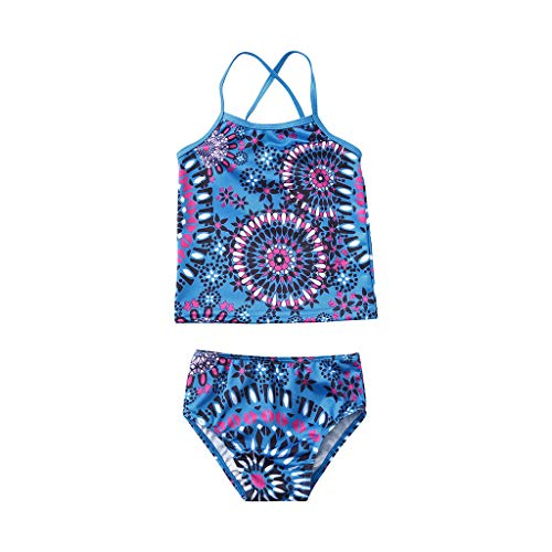 Girls' Beach Sport 2-Piece Banded Tankini Swimsuit Flounce Bikini Set Ruffles Swimwear Bathing Suits