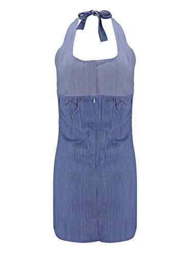 Sommer Minikleid mit Knöpfe Damen Sexy Halfter Hals Rückenfrei Kleid ...