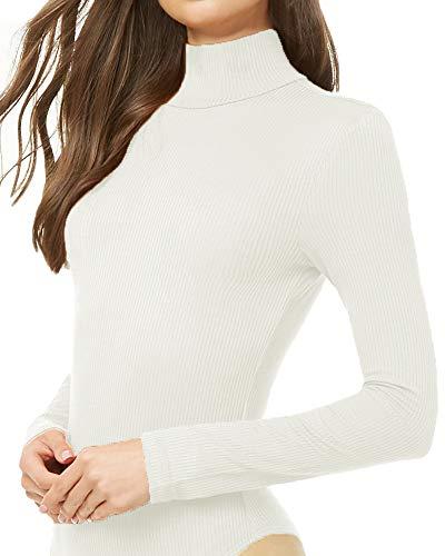 Li unicorn Women's Striped Ribbed Knit Mock Neck Long Sleeve Bodysuits Jumpsuits Stretchy (White, - Long Sleeve Rayon Ribbed