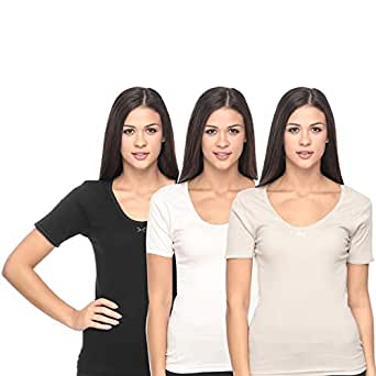 Mark-On Multi Color Cotton Round Neck T-Shirt For Women