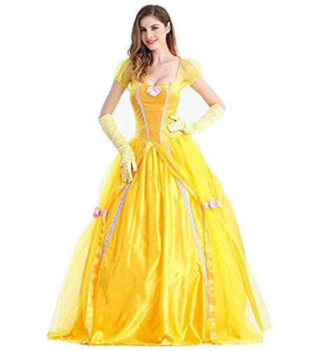 Peachi Belle Adult Princess Yellow Dress Costume for Beauty Belle Cosplay Halloween Party
