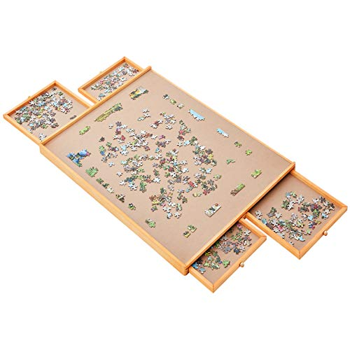 "Jumbo Size: 34""×26"" for Maximum 1500 Pieces Puzzles, Puzzle Board, Puzzle Table, Puzzle Tables for Adults, Puzzle Boards and Storage, Jigsaw Puzzle Table, Puzzle Tray, Weight:2.0 LBS (5 KGS)"