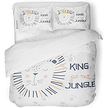 SanChic Duvet Cover Set Cute Lion Cartoon on Footprint King of The Decorative Bedding Set with 2 Pillow Cases Full/Queen Size