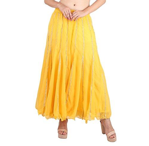 - Shararat Women's Palazzo Pants Georgette Heavy Work Wide Leg High Waist Sharara Yellow