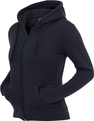Urban Classics Sudadera con capucha y cremallera para mujer gris