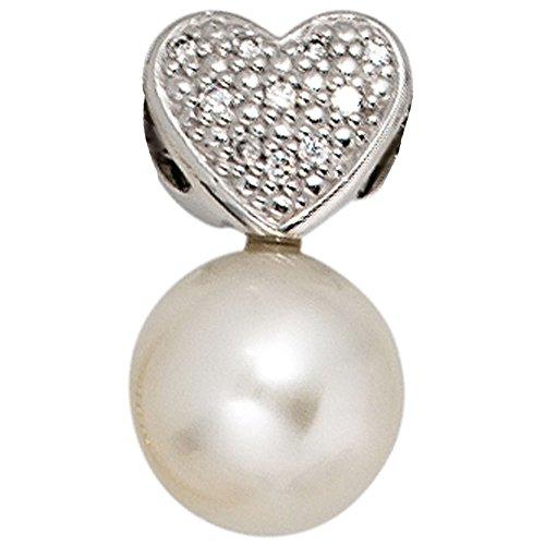 Pendentif en or blanc 585 sertie d'une perle et brillants de 10