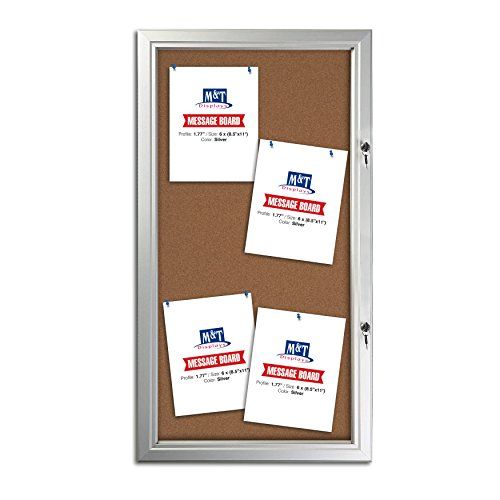 8.5x11 Cork Bulletin Board - Silver Aluminum Weatherproof Frame by DisplaysMarket