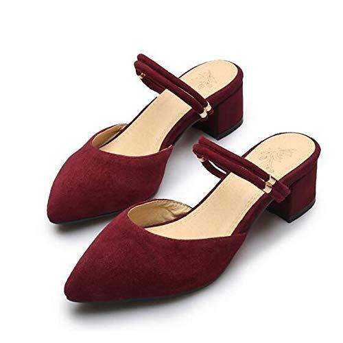 ZHZNVX Zapatos de Mujer Suede Spring Comfort Tacones Chunky Heel Black/Red / Green Red