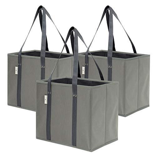 Premium 3 Pack Reusable Grocery Shopping Box Bags | Large, Sturdy, Durable Tote Bag Set for Groceries, Trunk Organizer…