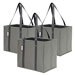Premium 3 Pack Reusable Grocery Shopping Box Bags | Large, Sturdy, Durable Tote Bag Set for Groceries, Trunk Organizer and Home Storage | Foldable with Stylish Design and Colors (Grey)