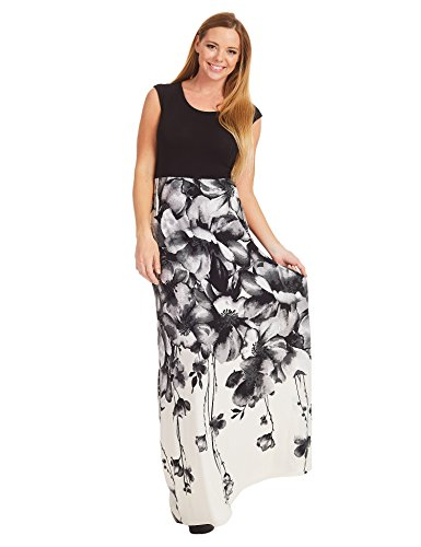WB1390 Womens Print Contrast Sleeveless Empire Line Maxi Dress XXL BLACK_IVORY by Lock and Love