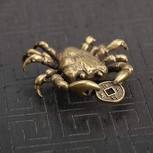 Chinese  Copper  Brass Crab Small Fengshui Statue Ornament