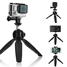CamKix Premium 3in1 Tripod Base and Hand Stabilizer Grip for All GoPro Hero 5, Black, Session, Hero 4, Session, Black, Silver, Hero+ LCD, 3+, 3, 2, 1 , Camera and Smartphone - Strong Ball Socket / Secure Locking / Anti Slip