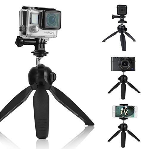 CamKix Premium 3in1 Tripod Base & Hand Stabilizer Grip Compatible with All GoPro Hero 7, 6, 5, Black, Session, Hero 4, Session, Black, Silver, Hero+ LCD, 3+, 3, 2, 1 Camera and Smartphone