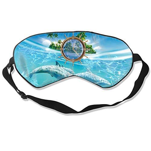 Oh-HiH 100% Silk Eye Mask Dolphin Water Clock Sleeping Blindfold Blocks Light Eye -