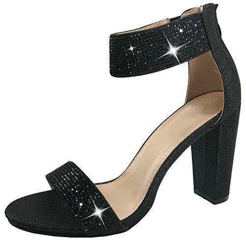 Harper Shoes Women's Open Toe Crystal Rhinestone Ankle Strap Chunky High Heel Dress Sandal, Black, - Leather Crystal Rhinestone Black