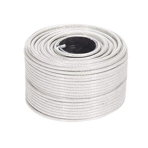 Houseables Vinyl Coated Wire Rope, Aircraft Cable, Stainless Steel, 250 Feet, 1/8-Inch - 3/16-Inch, 7x7 Braided Strands, Plastic Reel, Galvanized Metal, Tension Wires, for Clothes Line, Zip Lines