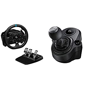 Logitech G923 Racing Wheel and Pedals, Trueforce up to 1000 Hz Force Feedback + Driving Force Shifter for G29 and G920