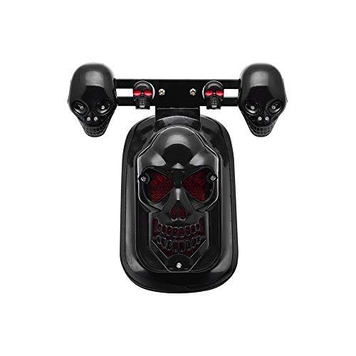 (Motorcycle LED Skull Taillight with Turn Signal Rear Brake Light For Harley Bobber Honda)