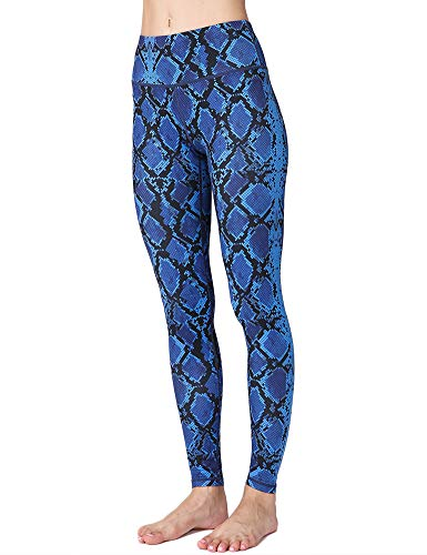 (Hioinieiy Womens High Waisted Snakeskin Printed Leggings Women's Workout Sports Spandex Cute Patterned Yoga Pants for Women Blue L)