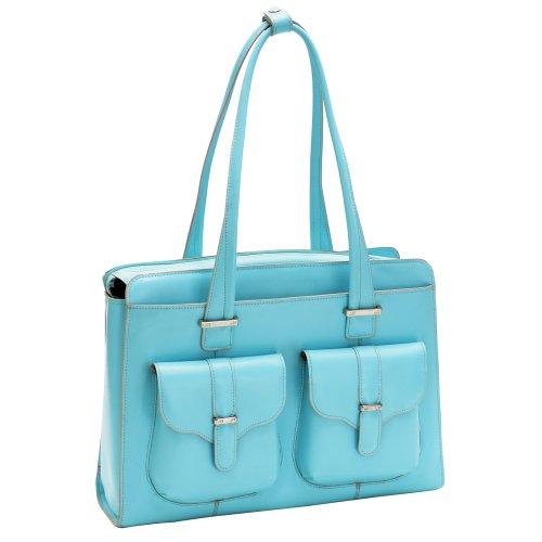 Women' Briefcase, Leather, Blue - Alexis | McKlein - 96548 ()