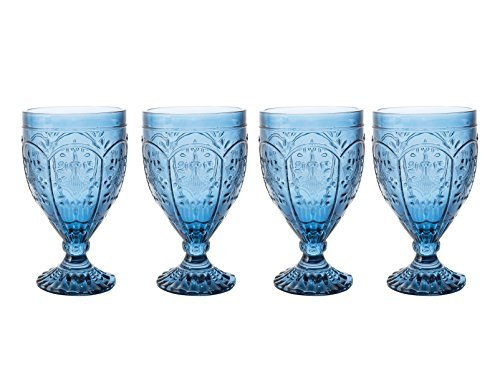 Trestle Glasses Collection, (Set of 4), Indigo by Fitz and Floyd