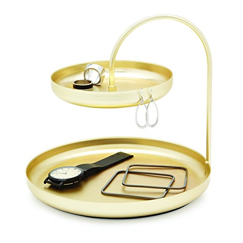 Umbra Poise Large Jewelry Tray, Double Jewelry Tray, Attractive Jewelry Storage You Can Leave Out, Two-Tiered Jewelry Tray, Matte Brass Finish ()