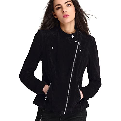 Wholesale Escalier Women`s Genuine Leather Jacket Zipper Suede Moto Biker Coat hot sale