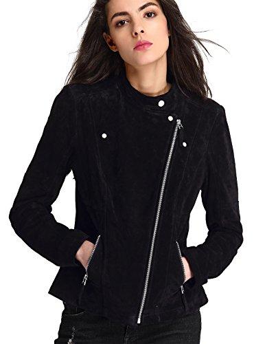 Black Leather Jacket Suede Coat (Escalier Women`s Genuine Leather Jacket Zipper Suede Moto Biker Coat Black M)