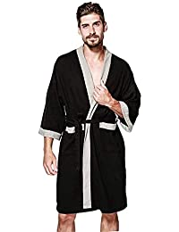 Kimono Robe Men Plus Size Lightweight Cotton Waffle Jersey Spa Robe Plush Bathrobe Loungewear Nightgown Sleepwear