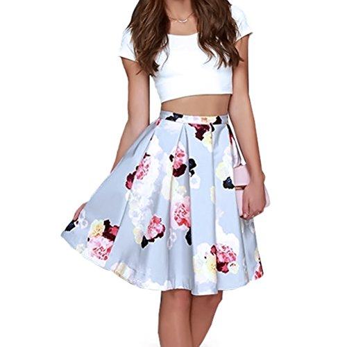 Memorose Women Elegant Two Piece Set Cropped Top Floral Print Skirt Midi Dress Medium