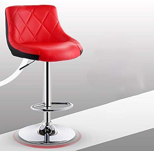 HKX Chaise Pivotante Tabouret De Bar Moderne Chaise De Cuisine De Petit-déjeuner Tabouret Imitation Cuir Rotation Rouge + Noir Siège Bicolore Réglable (Couleur: Rouge)