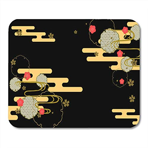 Gaming Mouse Pad Yellow Asian Traditional Japanese Pattern Bird Cherry Chrysanthemum Crane Flower 7.18.7 Inches Decor Office Nonslip Rubber Backing Mousepad Mouse ()