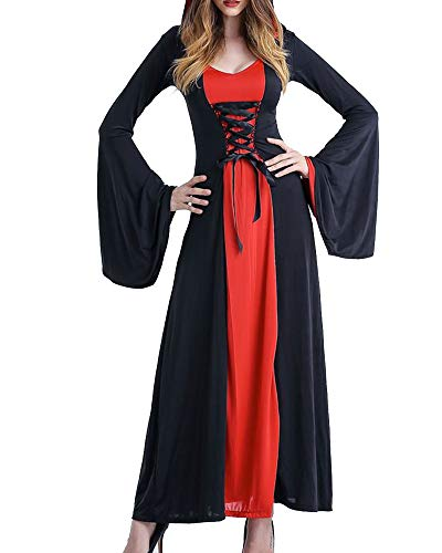 NiuBia Womens Halloween Medieval Renaissance Costumes Gowns Lace Up Hooded Vampire Witch Cosplay Robe Dress ()
