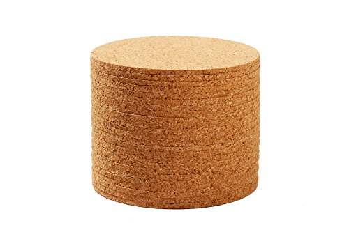 Set of 24 Cork Bar Drink Coasters - Absorbent and Reusable - Tan - 4-Inches, 1/8-Inch Thick by Juvale