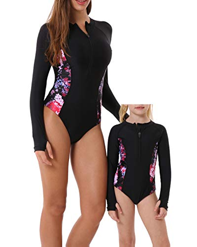 YOLIPULI Mother and Daughter Rashguard Long Sleeve Zip UV Protection Print Surfing Suit Swimwear Family Matching Swimsuit Black Mom XX-Large ()