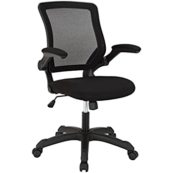 amazon com modway veer office chair with mesh back and black vinyl