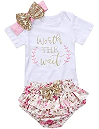 4b04ef4e2ff7 3PCS Baby Girls Worth The Wait Daddy s Girl Print Outfit Clothes Romper  Bodysuit Pants Headband